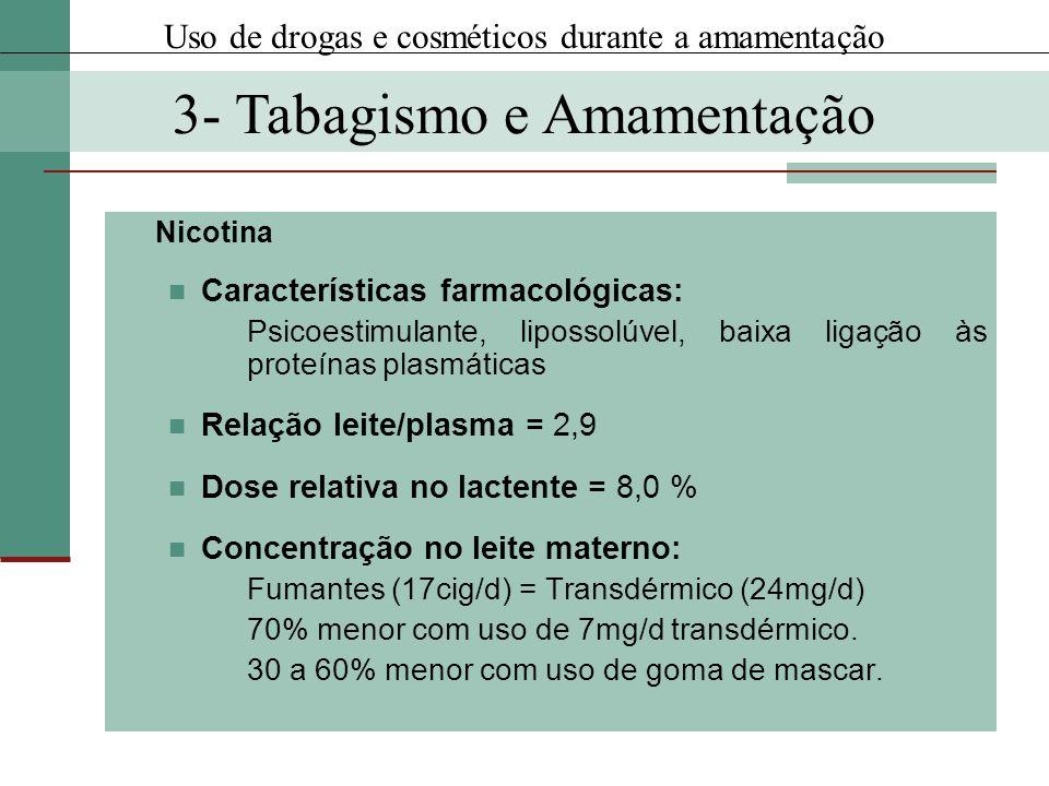 Nicotina Características farmacológicas: Psicoestimulante, lipossolúvel, baixa ligação às proteínas plasmáticas Relação leite/plasma = 2,9 Dose relati
