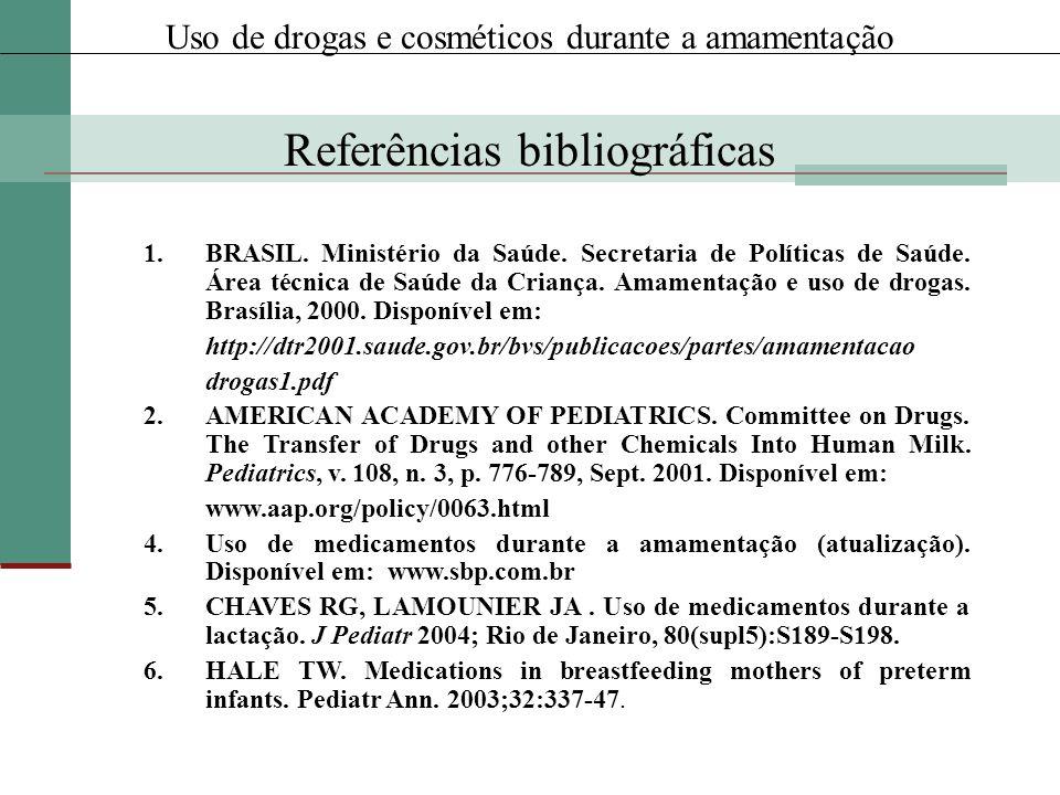 1.BRASIL. Ministério da Saúde. Secretaria de Políticas de Saúde. Área técnica de Saúde da Criança. Amamentação e uso de drogas. Brasília, 2000. Dispon