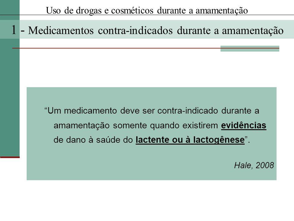 Um medicamento deve ser contra-indicado durante a amamentação somente quando existirem evidências de dano à saúde do lactente ou à lactogênese. Hale,