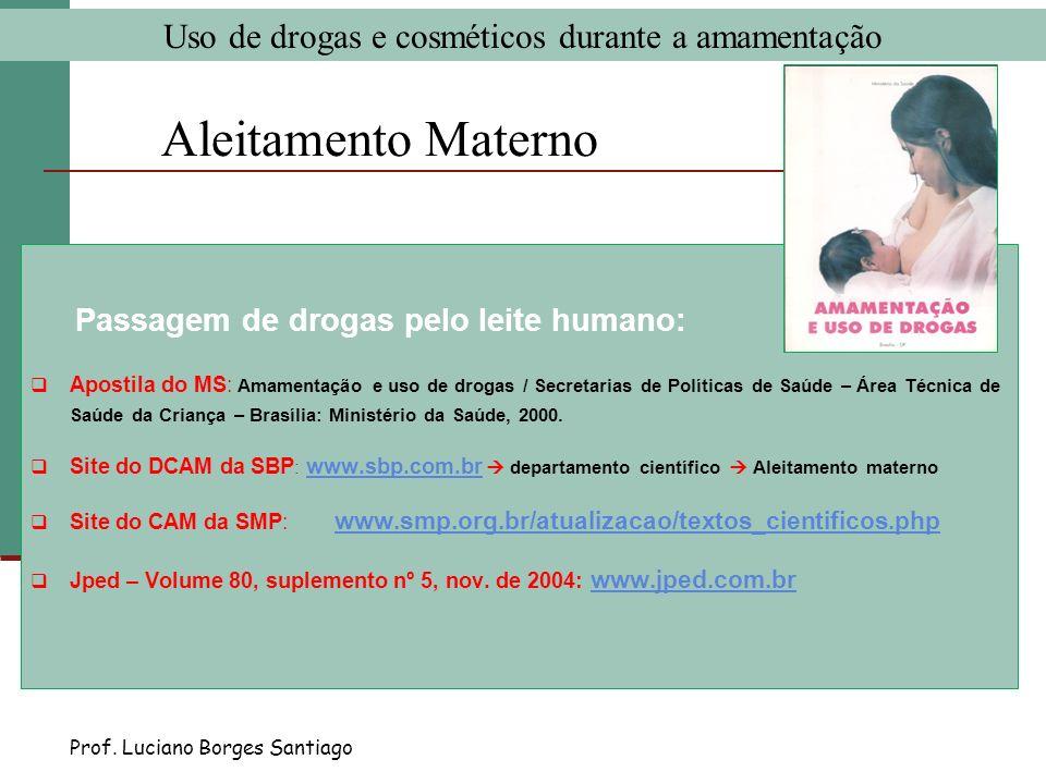 Aleitamento Materno Passagem de drogas pelo leite humano: Apostila do MS: Amamentação e uso de drogas / Secretarias de Políticas de Saúde – Área Técni