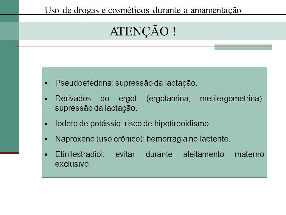 Pseudoefedrina: supressão da lactação. Derivados do ergot (ergotamina, metilergometrina): supressão da lactação. Iodeto de potássio: risco de hipotire