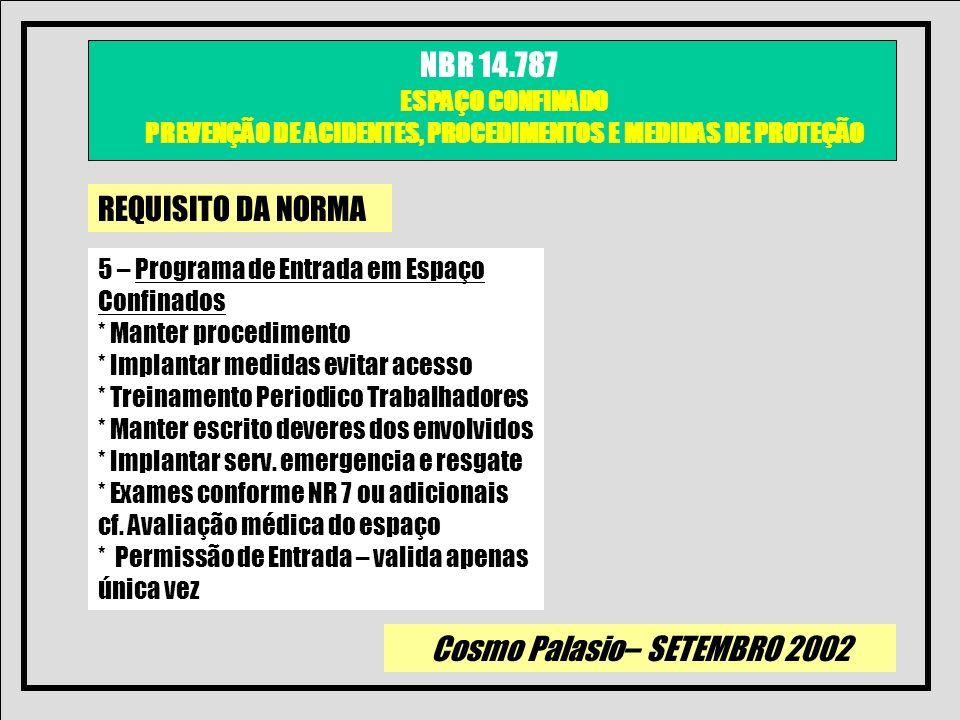 Cosmo Palasio– SETEMBRO 2002 NBR 14.787 ESPAÇO CONFINADO PREVENÇÃO DE ACIDENTES, PROCEDIMENTOS E MEDIDAS DE PROTEÇÃO REQUISITO DA NORMA 5 – Programa d