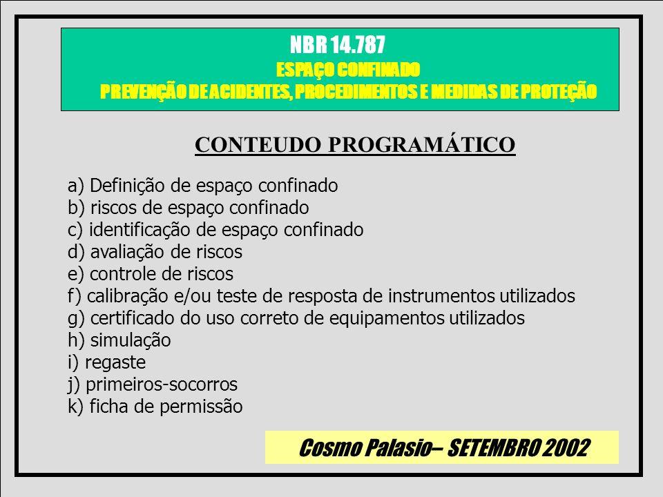 Cosmo Palasio– SETEMBRO 2002 NBR 14.787 ESPAÇO CONFINADO PREVENÇÃO DE ACIDENTES, PROCEDIMENTOS E MEDIDAS DE PROTEÇÃO a) Definição de espaço confinado