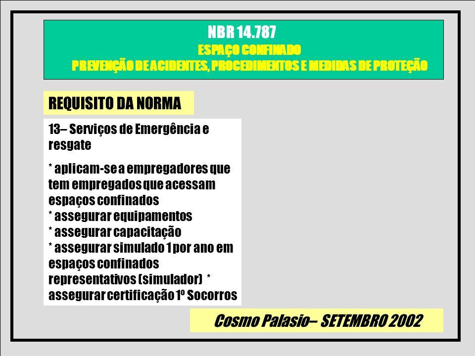 Cosmo Palasio– SETEMBRO 2002 NBR 14.787 ESPAÇO CONFINADO PREVENÇÃO DE ACIDENTES, PROCEDIMENTOS E MEDIDAS DE PROTEÇÃO REQUISITO DA NORMA 13– Serviços d