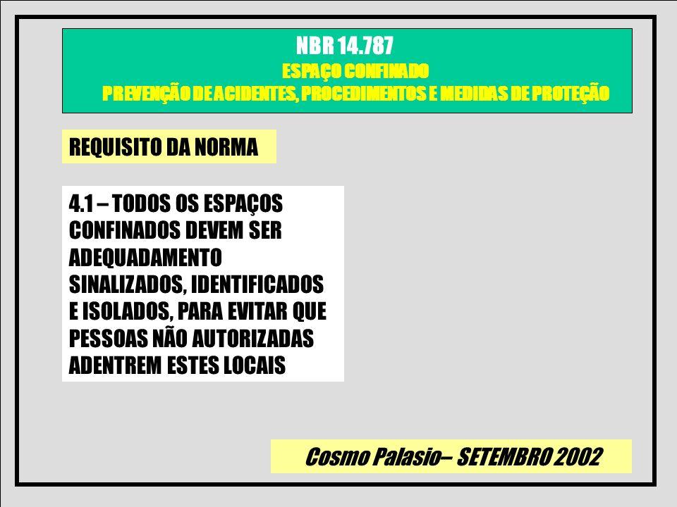 Cosmo Palasio– SETEMBRO 2002 NBR 14.787 ESPAÇO CONFINADO PREVENÇÃO DE ACIDENTES, PROCEDIMENTOS E MEDIDAS DE PROTEÇÃO REQUISITO DA NORMA 4.1 – TODOS OS
