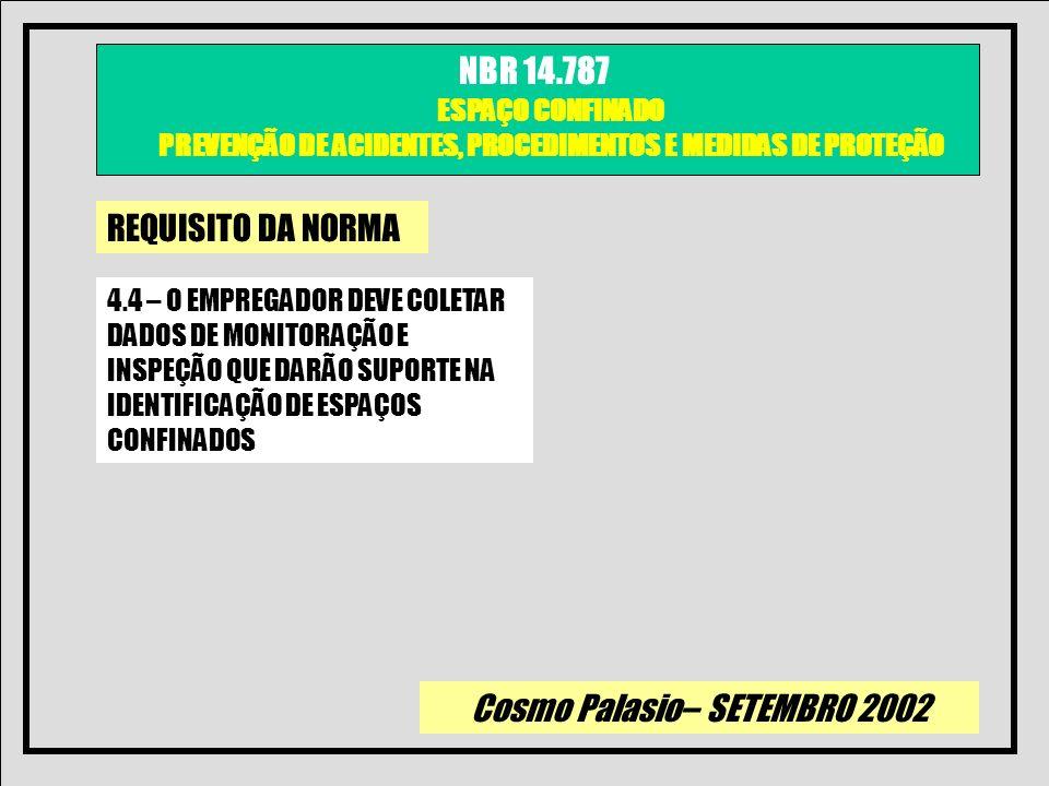 Cosmo Palasio– SETEMBRO 2002 NBR 14.787 ESPAÇO CONFINADO PREVENÇÃO DE ACIDENTES, PROCEDIMENTOS E MEDIDAS DE PROTEÇÃO REQUISITO DA NORMA 4.4 – O EMPREG