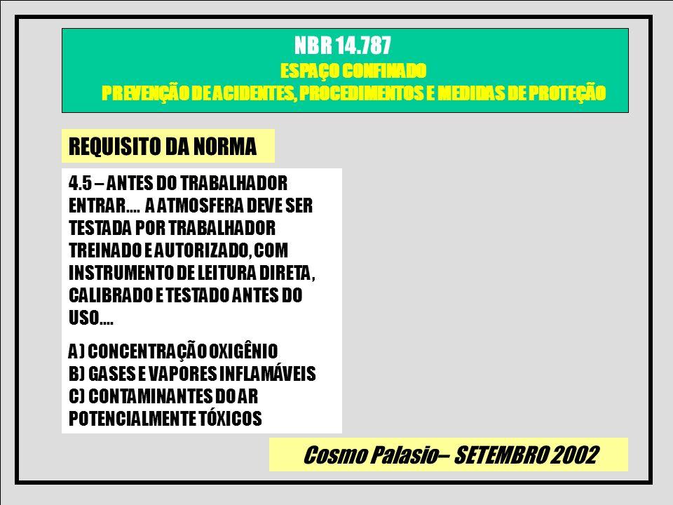 Cosmo Palasio– SETEMBRO 2002 NBR 14.787 ESPAÇO CONFINADO PREVENÇÃO DE ACIDENTES, PROCEDIMENTOS E MEDIDAS DE PROTEÇÃO REQUISITO DA NORMA 4.5 – ANTES DO