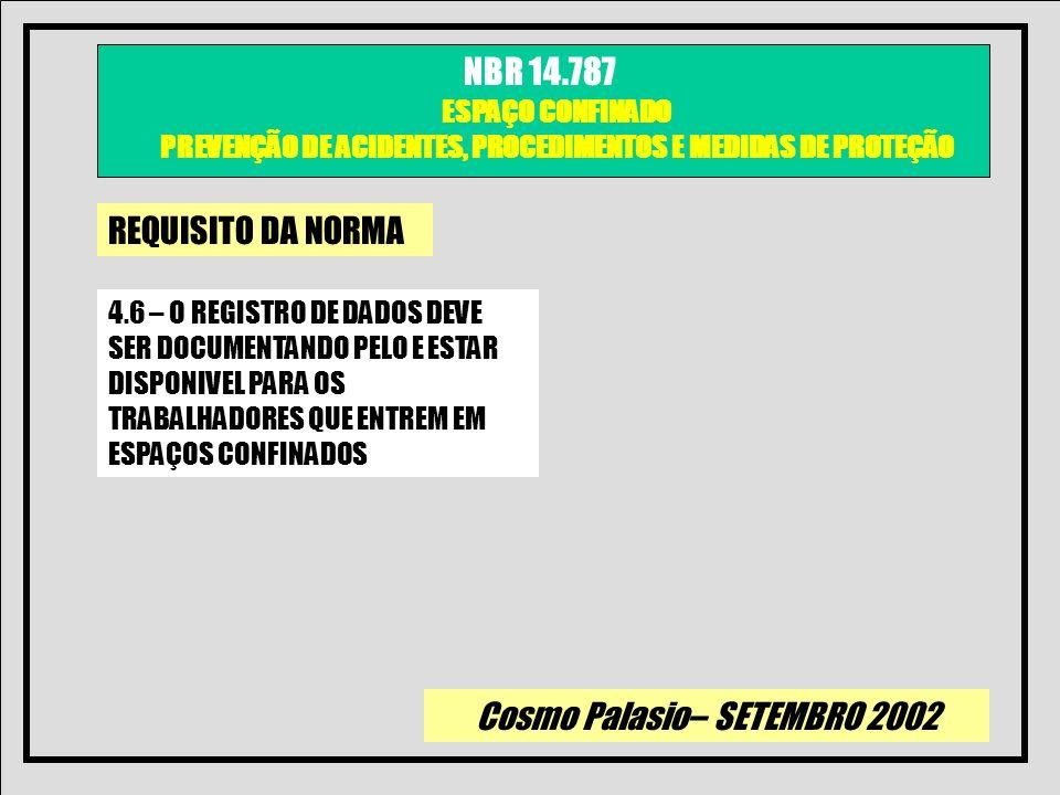 Cosmo Palasio– SETEMBRO 2002 NBR 14.787 ESPAÇO CONFINADO PREVENÇÃO DE ACIDENTES, PROCEDIMENTOS E MEDIDAS DE PROTEÇÃO REQUISITO DA NORMA 4.6 – O REGIST