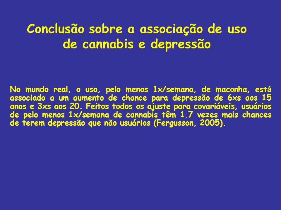 Conclusão sobre a associação de uso de cannabis e depressão No mundo real, o uso, pelo menos 1x/semana, de maconha, est á associado a um aumento de ch