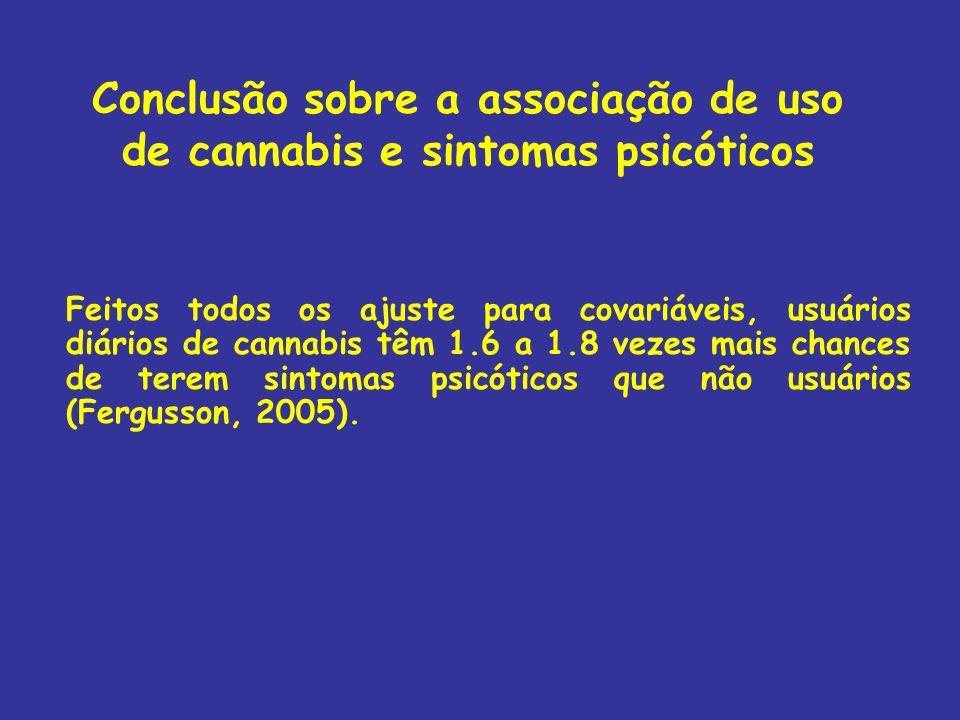 Conclusão sobre a associação de uso de cannabis e sintomas psicóticos Feitos todos os ajuste para covariáveis, usuários diários de cannabis têm 1.6 a