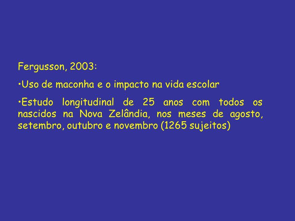 Fergusson, 2003: Uso de maconha e o impacto na vida escolar Estudo longitudinal de 25 anos com todos os nascidos na Nova Zelândia, nos meses de agosto
