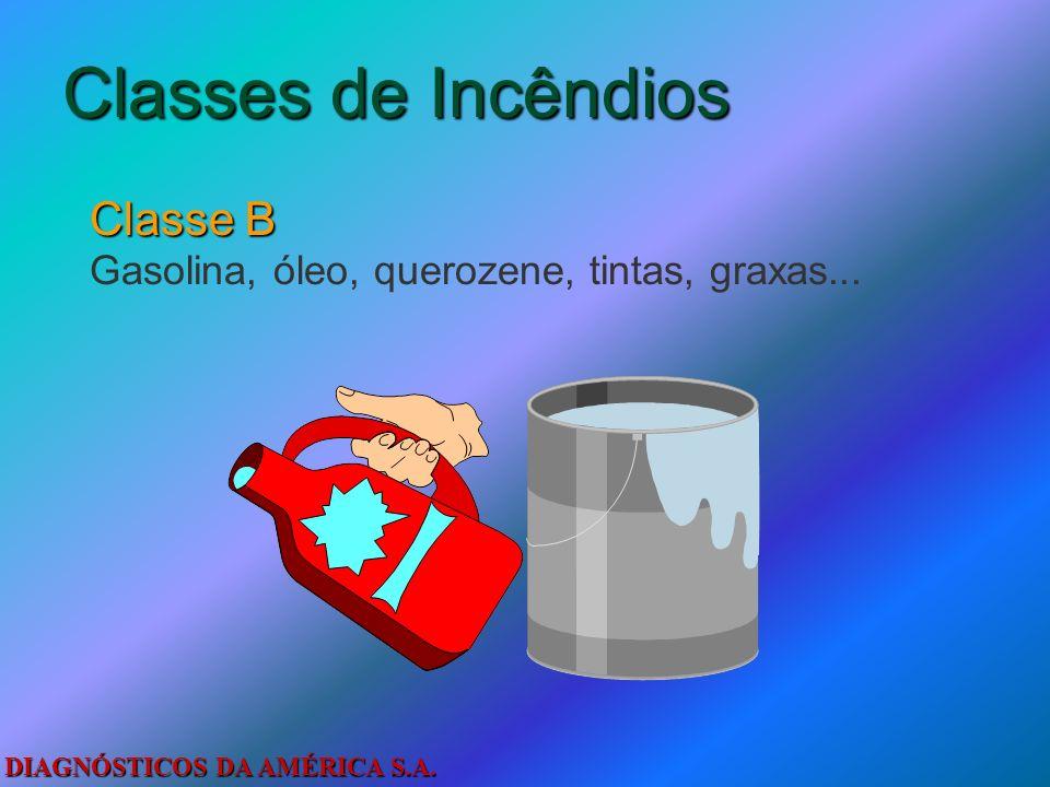 DIAGNÓSTICOS DA AMÉRICA S.A. Classes de Incêndios Classe A Madeira, papel, tecido, papelão, algodão, lixo...