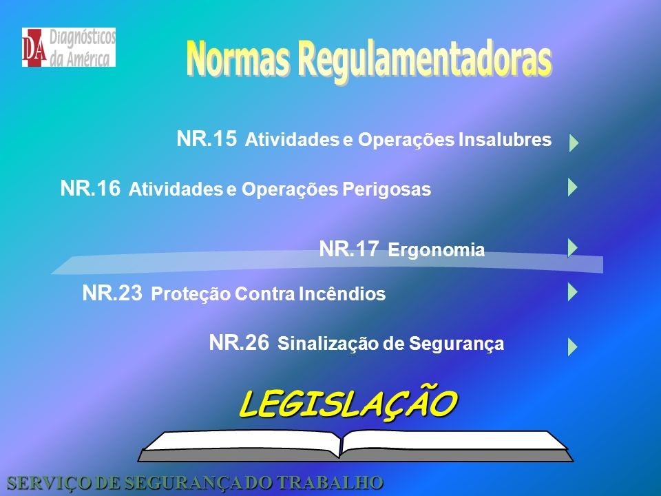 NR.6 Equipamento de Proteção Individual - EPI NR.1 Disposições Gerais NR.4 Serviços Especializados em Engenharia de Segurança e Medicina do Trabalho -