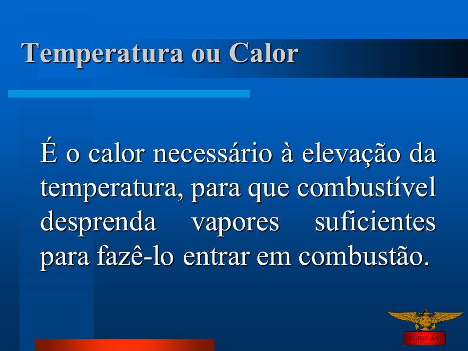 CBINC-AV Temperatura ou Calor É o calor necessário à elevação da temperatura, para que combustível desprenda vapores suficientes para fazê-lo entrar e