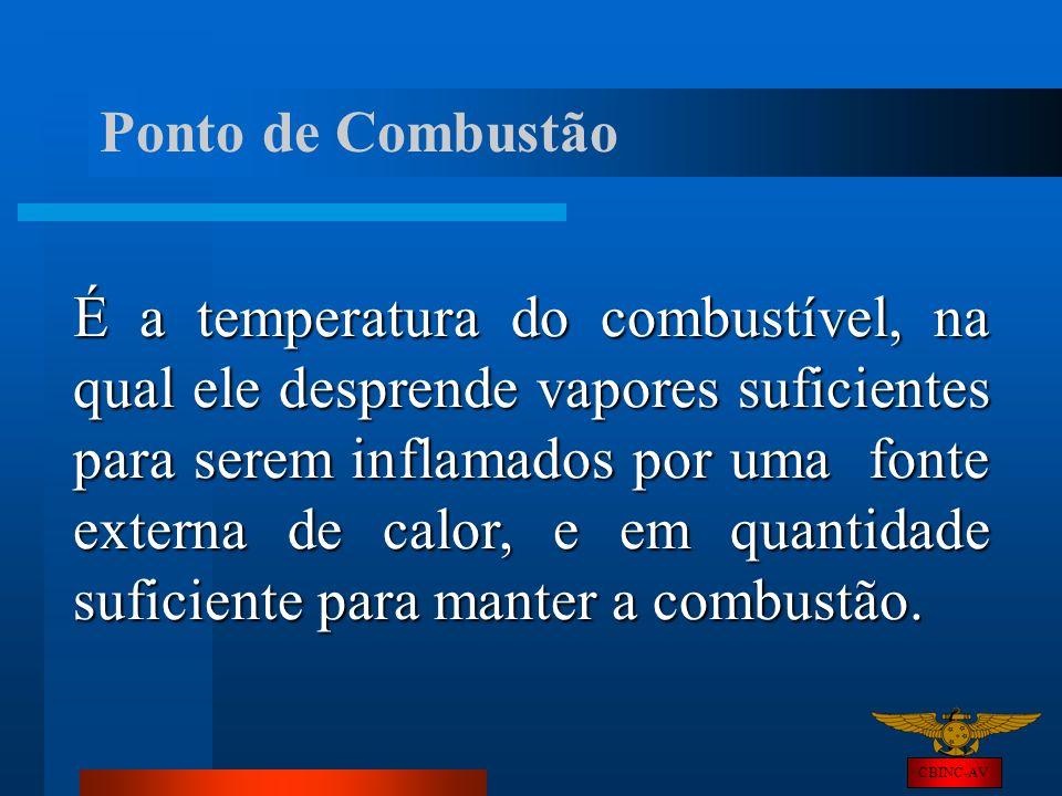 CBINC-AV Ponto de Combustão É a temperatura do combustível, na qual ele desprende vapores suficientes para serem inflamados por uma fonte externa de c