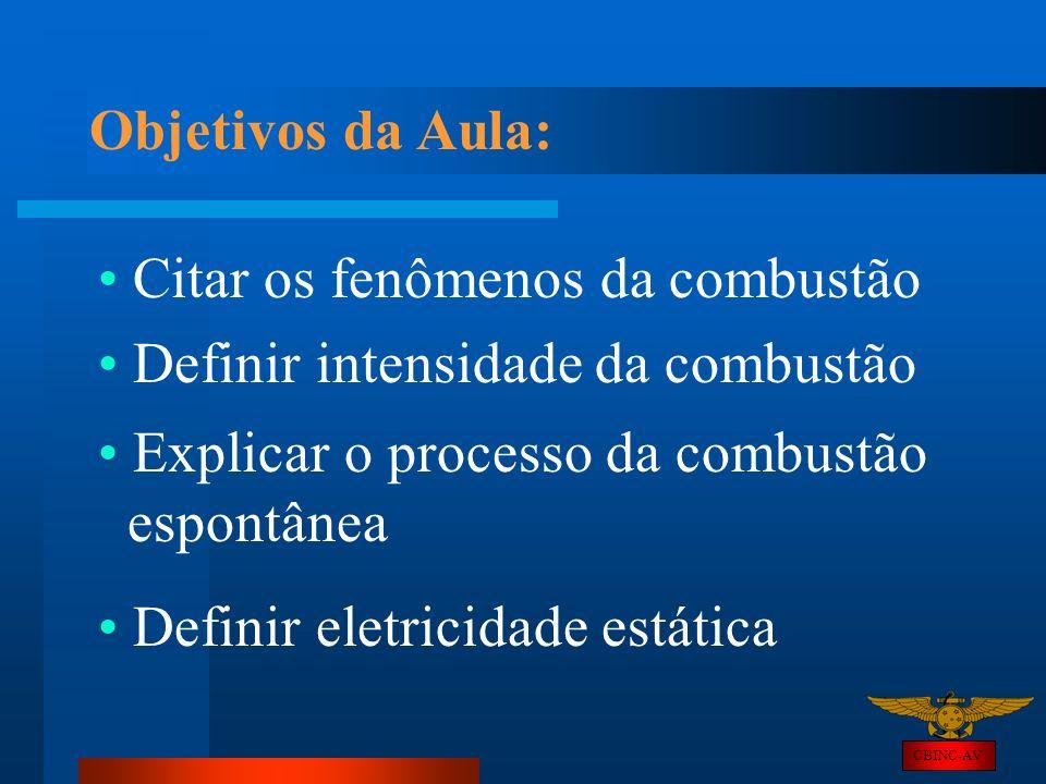Objetivos da Aula: Citar os fenômenos da combustão Definir intensidade da combustão CBINC-AV Explicar o processo da combustão espontânea Definir eletr
