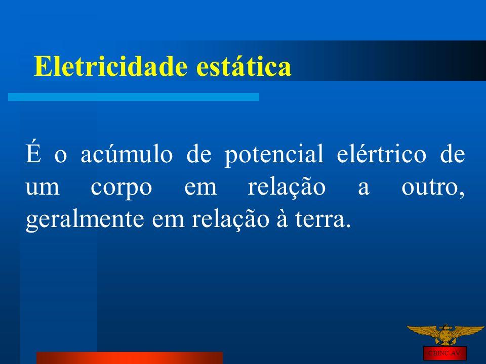 CBINC-AV Eletricidade estática É o acúmulo de potencial elértrico de um corpo em relação a outro, geralmente em relação à terra.