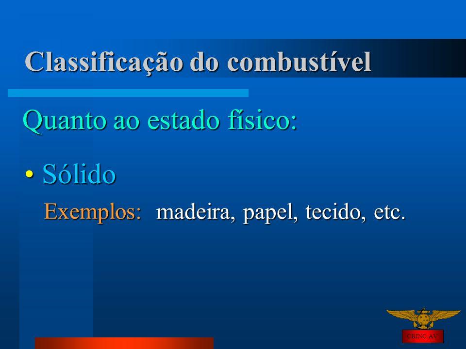 CBINC-AV Classificação do combustível Quanto ao estado físico: Sólido Sólido Exemplos: madeira, papel, tecido, etc.