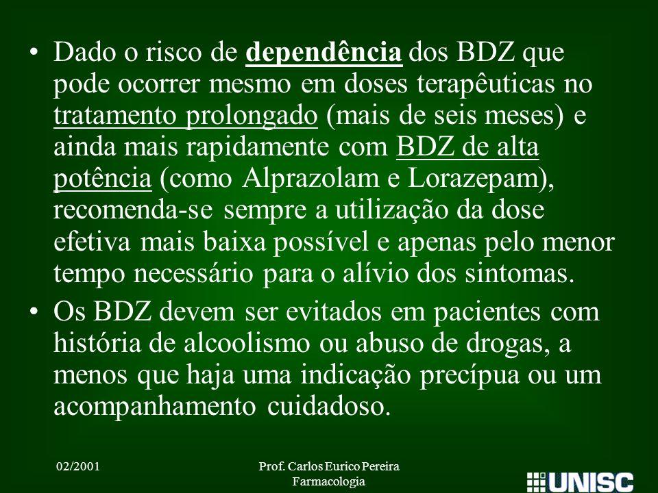 02/2001Prof. Carlos Eurico Pereira Farmacologia