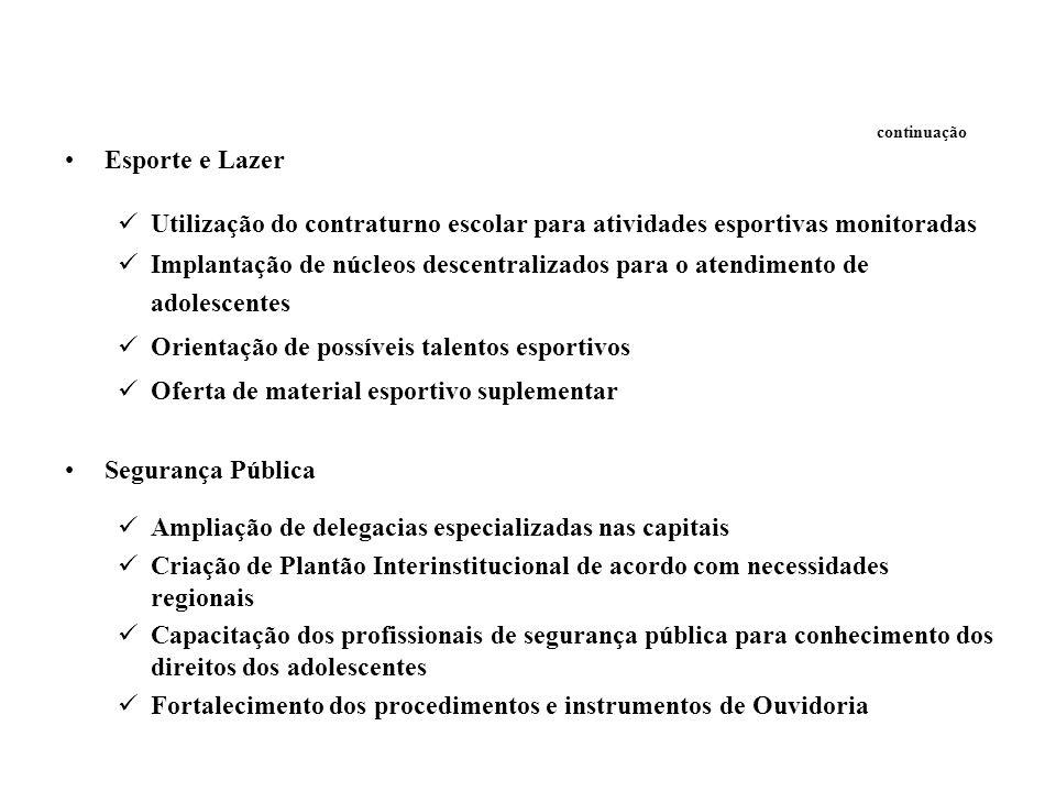continuação Esporte e Lazer Utilização do contraturno escolar para atividades esportivas monitoradas Implantação de núcleos descentralizados para o at