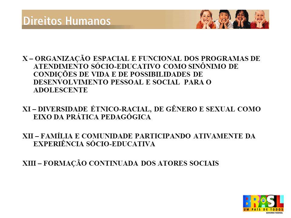 X – ORGANIZAÇÃO ESPACIAL E FUNCIONAL DOS PROGRAMAS DE ATENDIMENTO SÓCIO-EDUCATIVO COMO SINÔNIMO DE CONDIÇÕES DE VIDA E DE POSSIBILIDADES DE DESENVOLVI