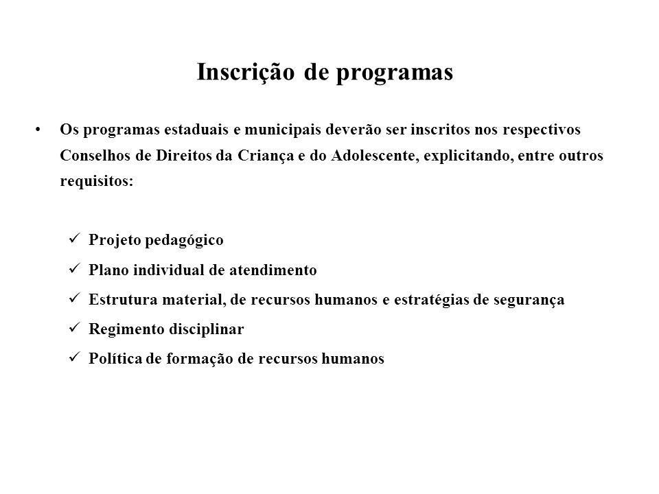 Inscrição de programas Os programas estaduais e municipais deverão ser inscritos nos respectivos Conselhos de Direitos da Criança e do Adolescente, ex