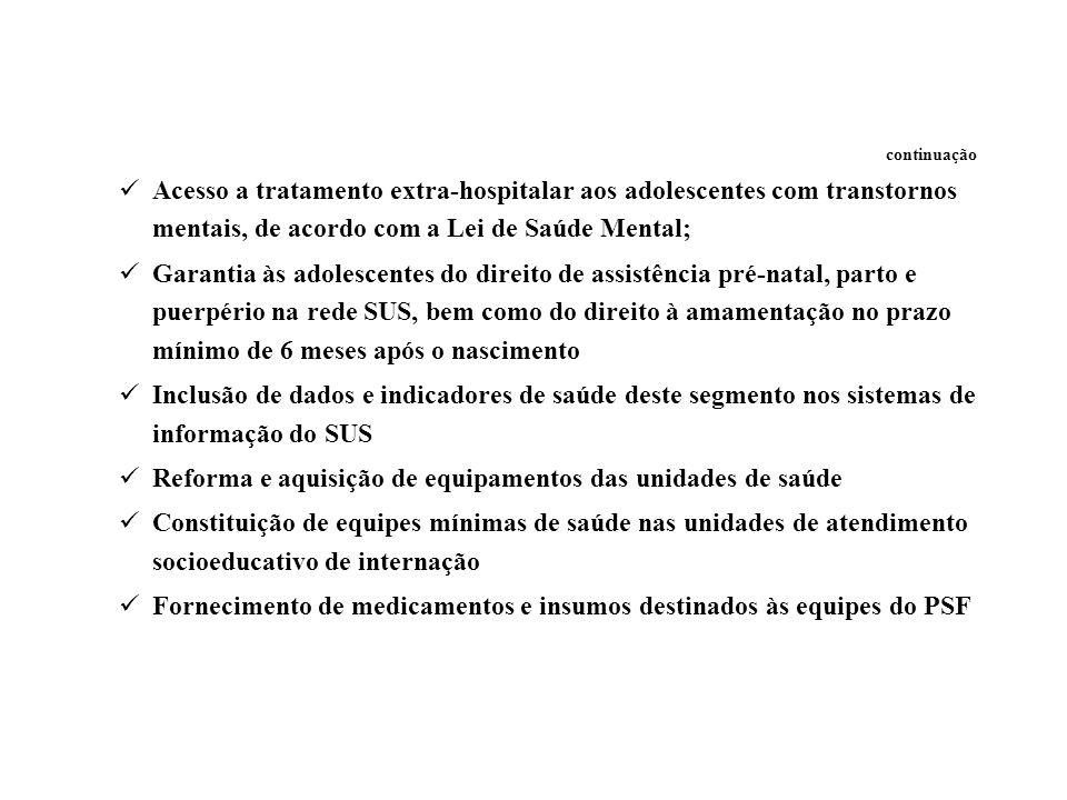 continuação Acesso a tratamento extra-hospitalar aos adolescentes com transtornos mentais, de acordo com a Lei de Saúde Mental; Garantia às adolescent