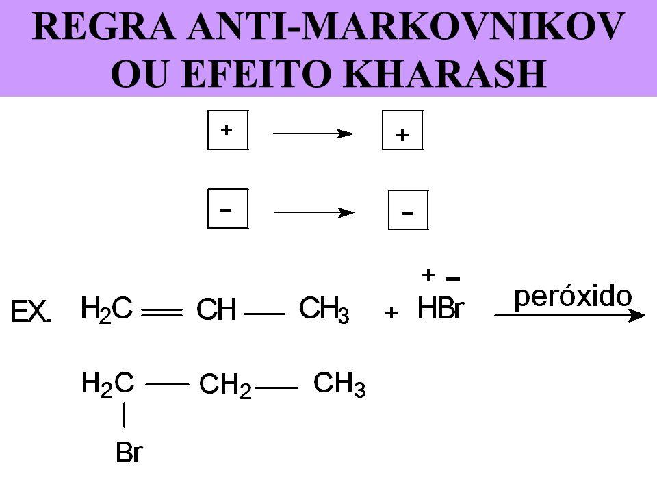 PRODUTO FINAL DA REAÇÃO Tipo de reação que ocorreu: A. Reação de adição eletrofílica Tipo de intermediário A. Carbocátion ou carbônion OBS: Só haverá