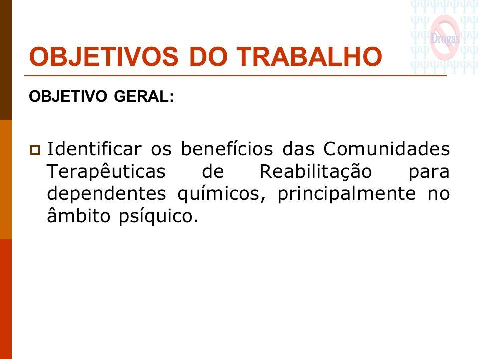 OBJETIVOS DO TRABALHO OBJETIVO GERAL: Identificar os benefícios das Comunidades Terapêuticas de Reabilitação para dependentes químicos, principalmente