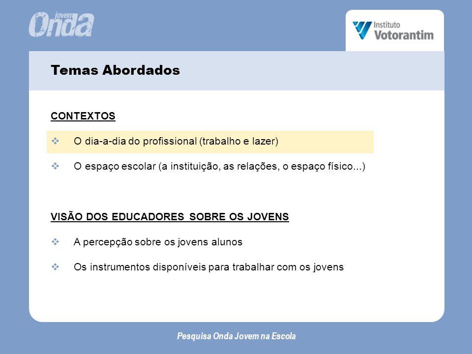 Pesquisa Onda Jovem na Escola A percepção sobre os jovens alunos...