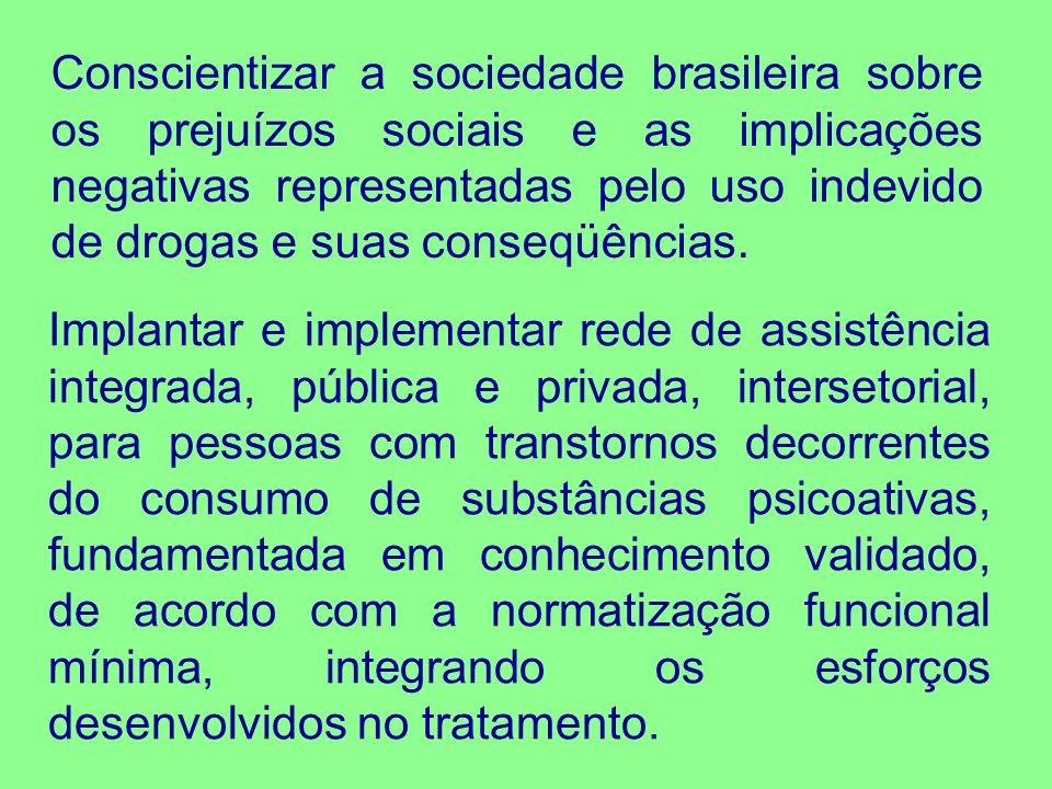 Conscientizar a sociedade brasileira sobre os prejuízos sociais e as implicações negativas representadas pelo uso indevido de drogas e suas conseqüênc