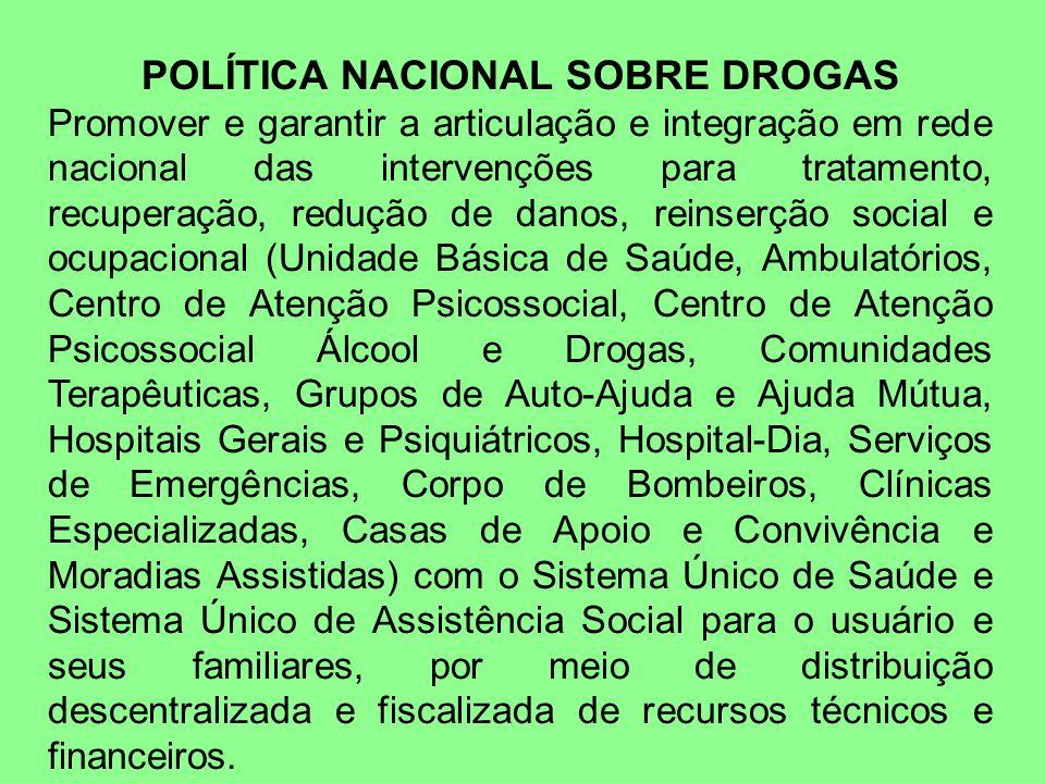 POLÍTICA NACIONAL SOBRE DROGAS Promover e garantir a articulação e integração em rede nacional das intervenções para tratamento, recuperação, redução