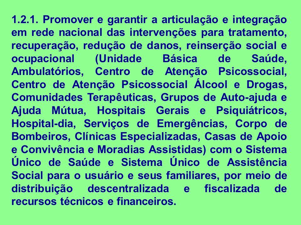 1.2.1. Promover e garantir a articulação e integração em rede nacional das intervenções para tratamento, recuperação, redução de danos, reinserção soc