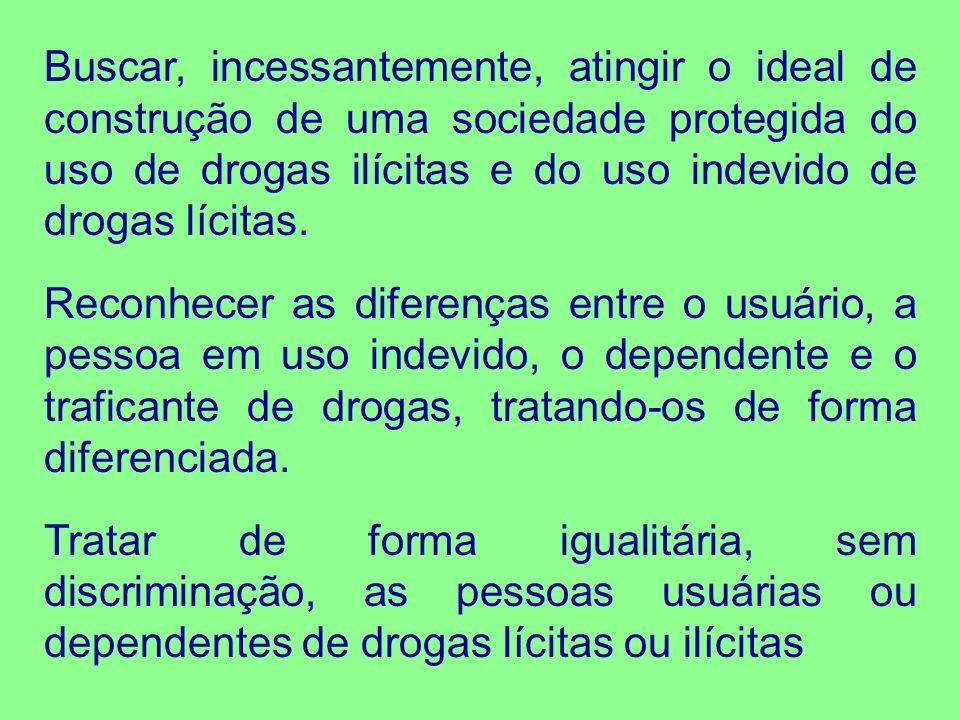 Buscar, incessantemente, atingir o ideal de construção de uma sociedade protegida do uso de drogas ilícitas e do uso indevido de drogas lícitas. Recon