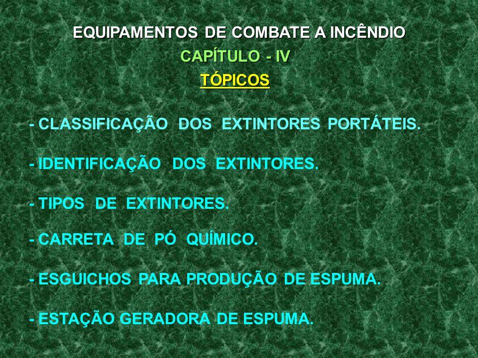 EQUIPAMENTOS DE COMBATE A INCÊNDIO CAPÍTULO - IV TÓPICOS - CLASSIFICAÇÃO DOS EXTINTORES PORTÁTEIS.
