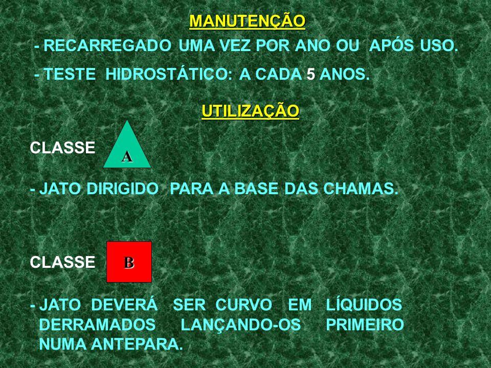 CILINDRO: - ÁGUA + BICARBONATO DE SÓDIO + AGENTE ESTABILIZADOR. RECIPIENTE DE VIDRO: - SULFATO DE ALUMÍNIO. USO: - INVERTENDO O EXTINTOR. PROPELENTE: