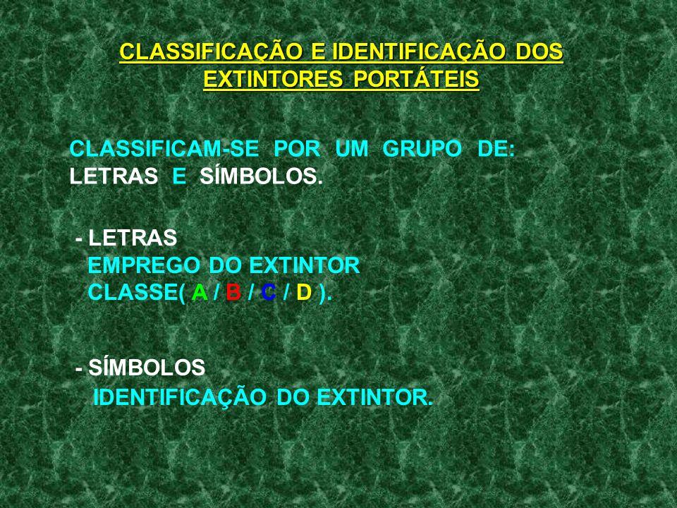 CLASSIFICAÇÃO E IDENTIFICAÇÃO DOS EXTINTORES PORTÁTEIS CLASSIFICAM-SE POR UM GRUPO DE: LETRAS E SÍMBOLOS.