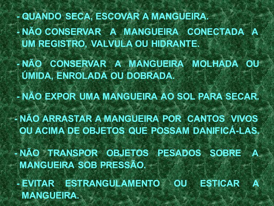 MANGUEIRAS - SÃO ENCONTRADAS NOS MODELOS: - 1½ pol; E - 2½ pol. - EXISTEM DOIS TIPOS DE MANGUEIRAS EMPREGADAS NA MB. EXTREMIDADES DE: - ENGATE RÁPIDO;