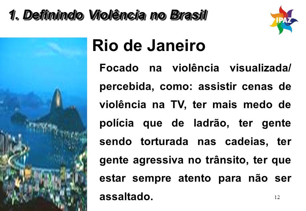 12 Rio de Janeiro Focado na violência visualizada/ percebida, como: assistir cenas de violência na TV, ter mais medo de polícia que de ladrão, ter gen