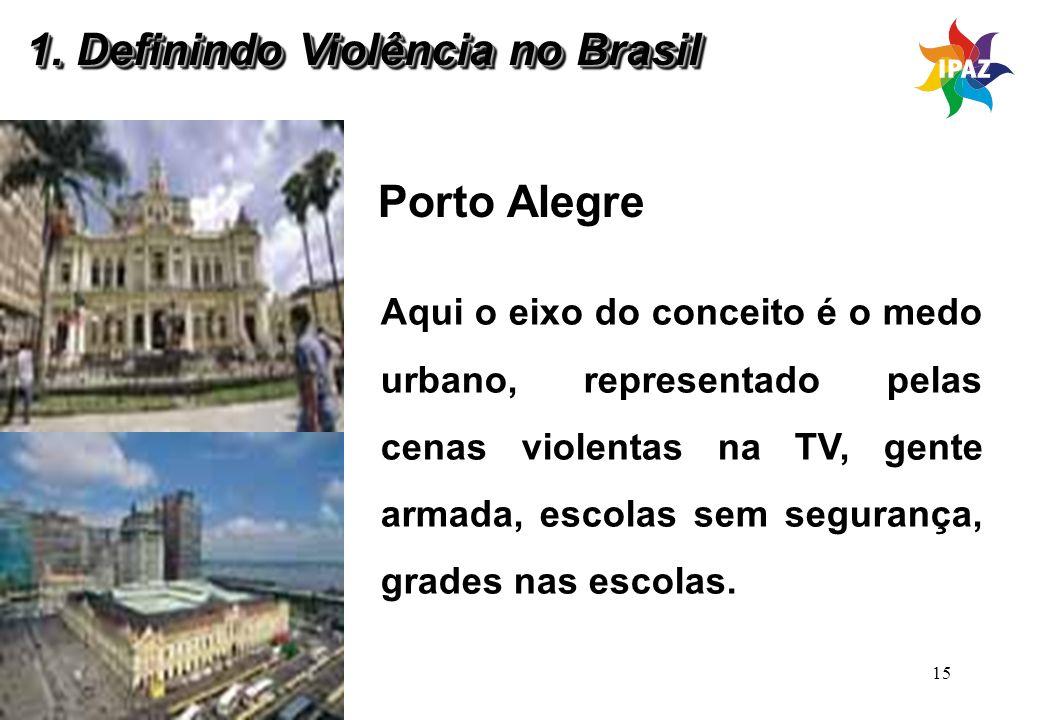15 Porto Alegre Aqui o eixo do conceito é o medo urbano, representado pelas cenas violentas na TV, gente armada, escolas sem segurança, grades nas esc