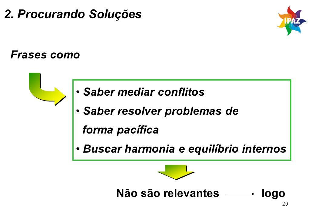 20 2. Procurando Soluções Frases como Saber mediar conflitos Saber resolver problemas de forma pacífica Buscar harmonia e equilíbrio internos Não são