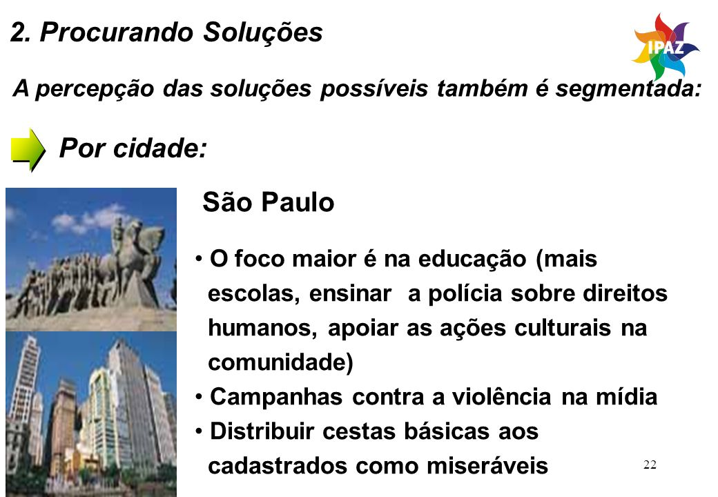 22 A percepção das soluções possíveis também é segmentada: Por cidade: São Paulo O foco maior é na educação (mais escolas, ensinar a polícia sobre dir