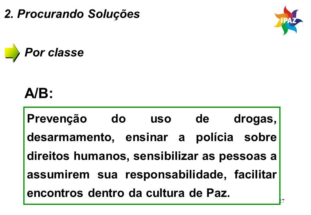 27 Por classe A/B: Prevenção do uso de drogas, desarmamento, ensinar a polícia sobre direitos humanos, sensibilizar as pessoas a assumirem sua respons