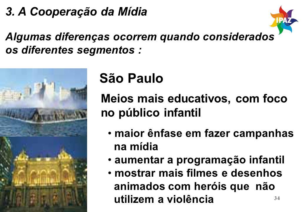 34 Algumas diferenças ocorrem quando considerados os diferentes segmentos : São Paulo Meios mais educativos, com foco no público infantil maior ênfase