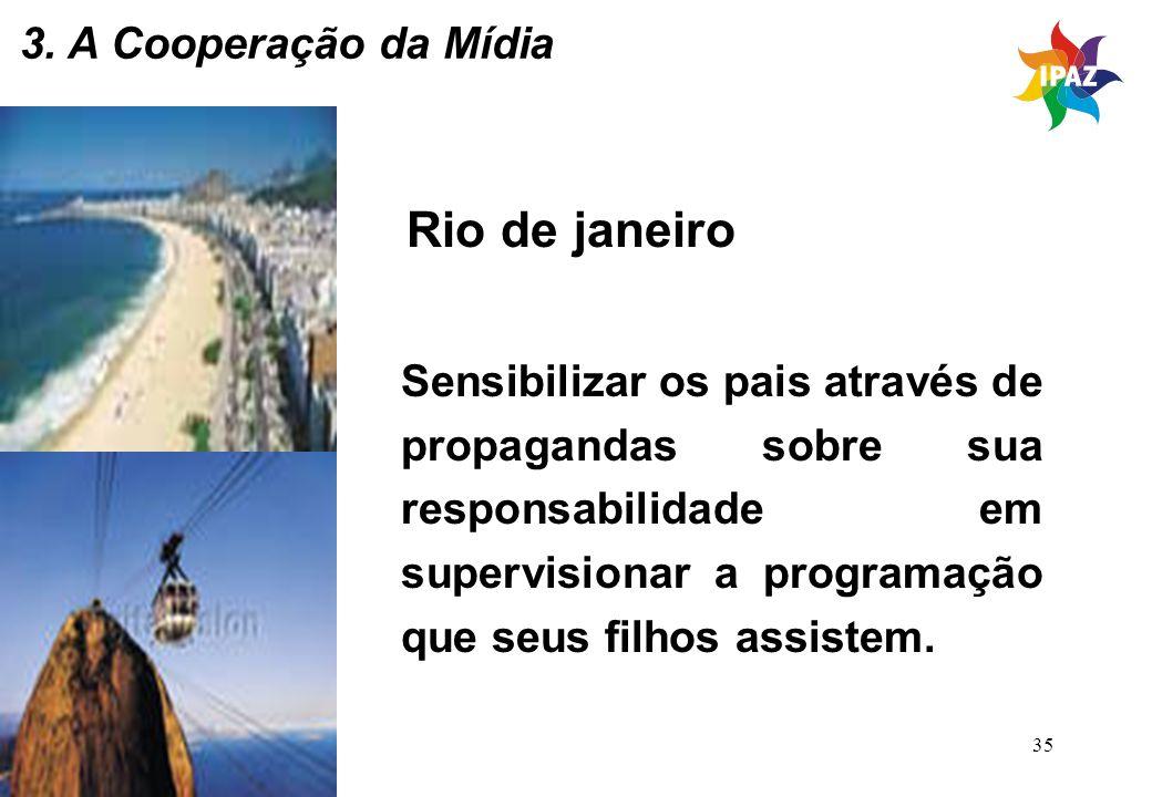35 Rio de janeiro Sensibilizar os pais através de propagandas sobre sua responsabilidade em supervisionar a programação que seus filhos assistem. 3. A