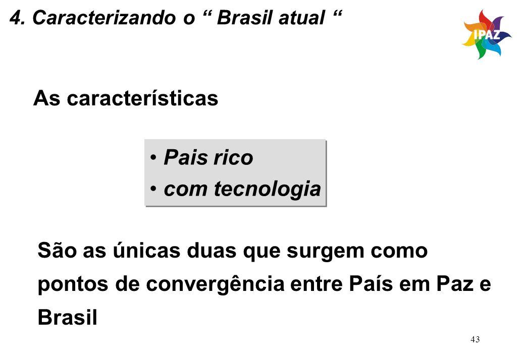 43 4. Caracterizando o Brasil atual As características Pais rico com tecnologia Pais rico com tecnologia São as únicas duas que surgem como pontos de