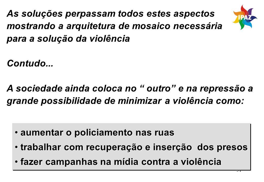 51 As soluções perpassam todos estes aspectos mostrando a arquitetura de mosaico necessária para a solução da violência Contudo... A sociedade ainda c