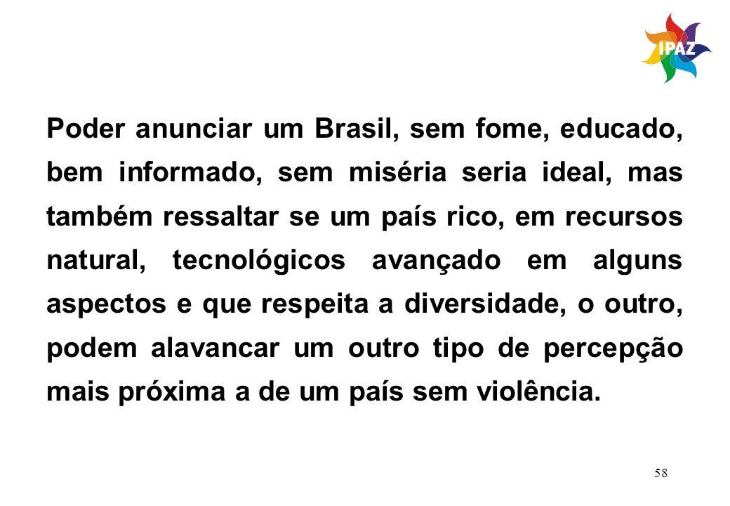 58 Poder anunciar um Brasil, sem fome, educado, bem informado, sem miséria seria ideal, mas também ressaltar se um país rico, em recursos natural, tec