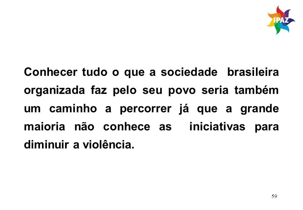 59 Conhecer tudo o que a sociedade brasileira organizada faz pelo seu povo seria também um caminho a percorrer já que a grande maioria não conhece as