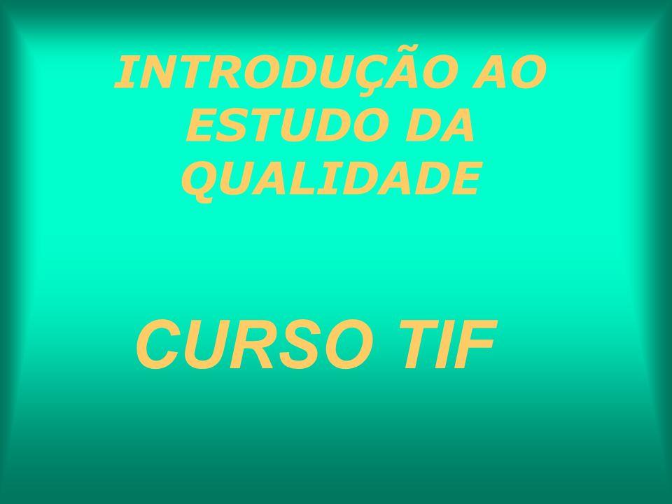 INTRODUÇÃO AO ESTUDO DA QUALIDADE CURSO TIF